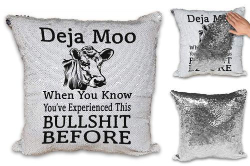 Deja Moo Funny Sequin Reveal Magic Cushion Cover